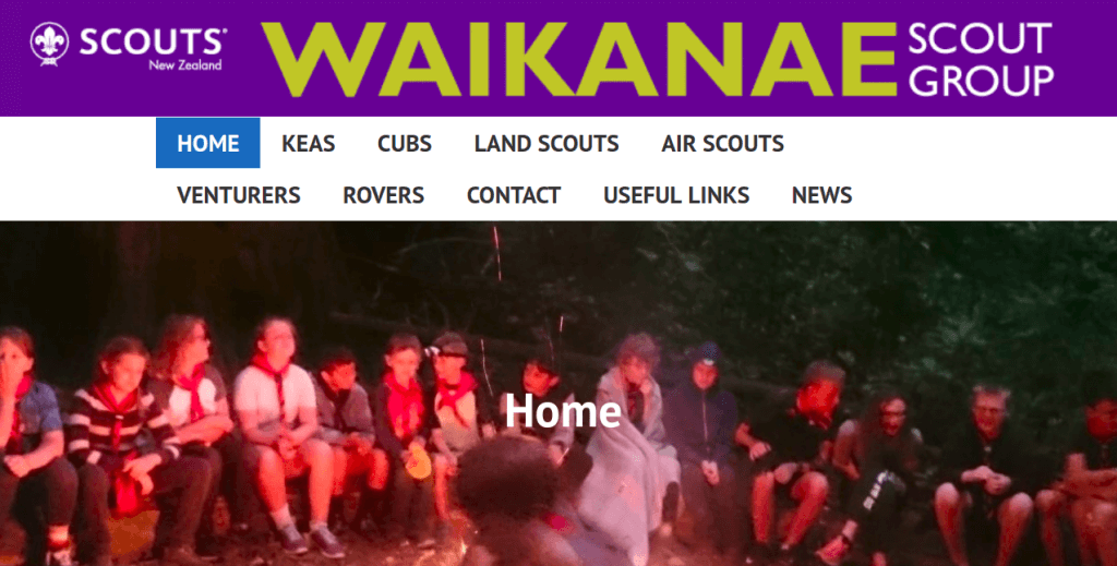 Website built for Waikanae Scout Group by Misfitt Web Design and development