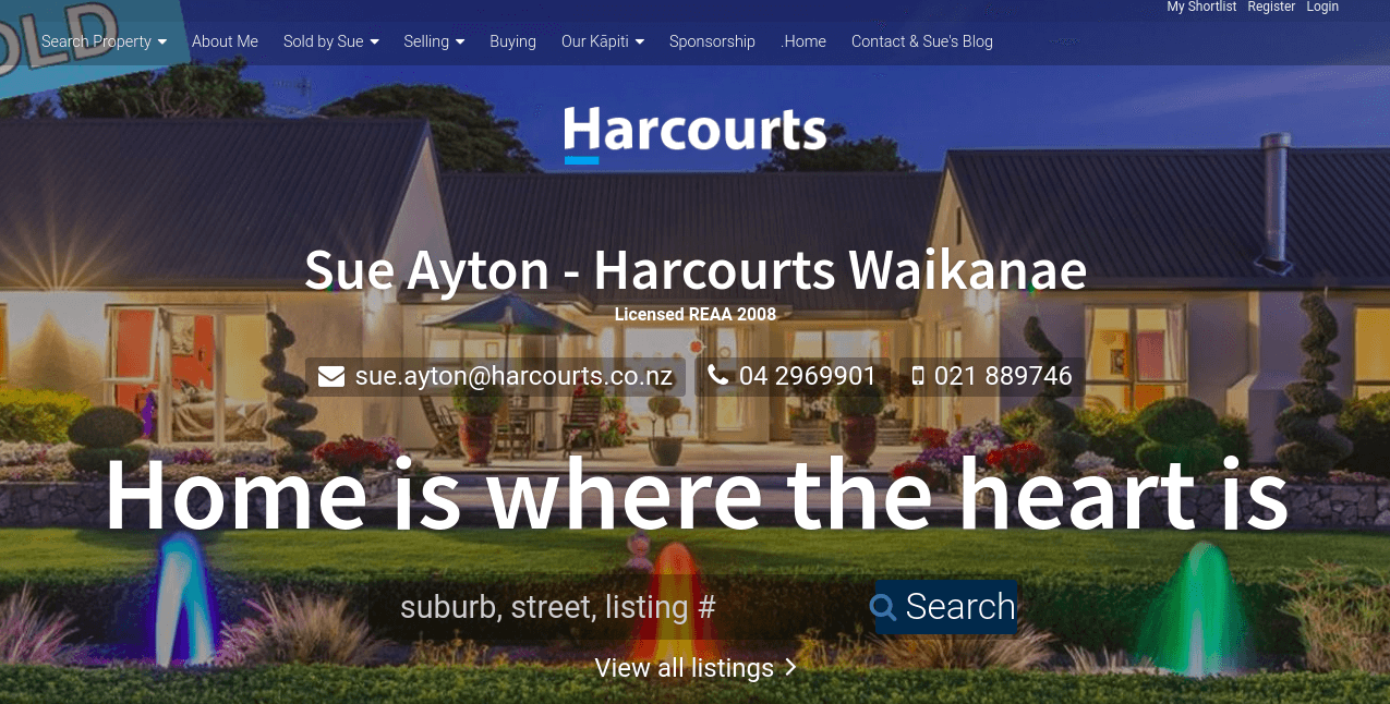 Website for sue Ayton of Harcourts