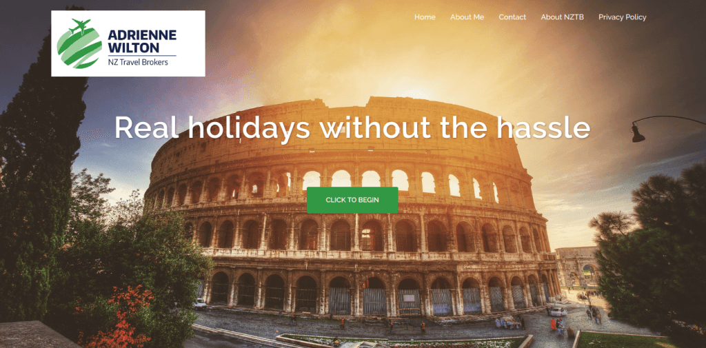 "screenshot of the Colosseum in Rome with the slogan 'Real holidays without the hassle."" from adrienne wilton."