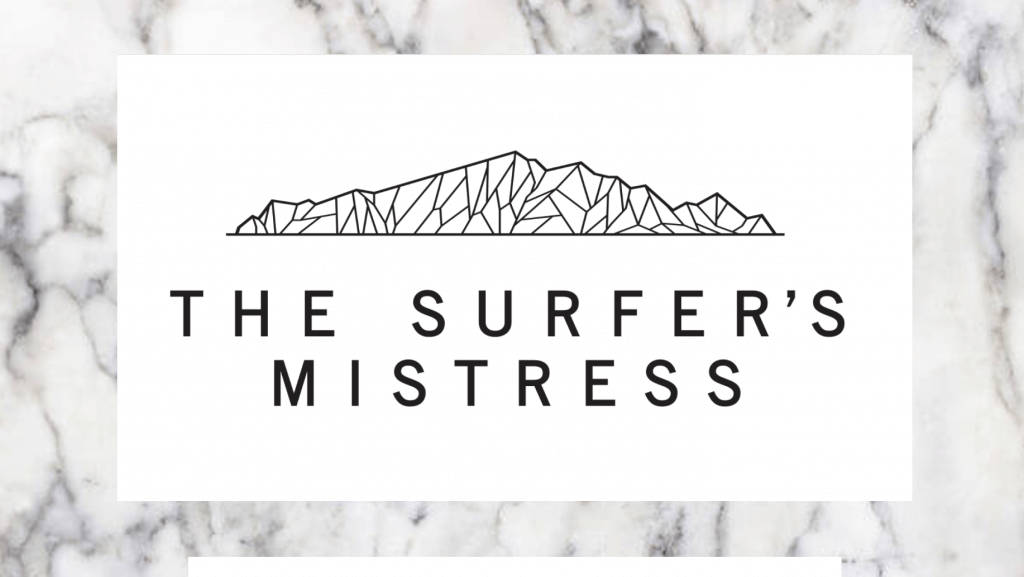 landing page of the surfer's mistress restaurant. Stylised image of kapiti island in the background.