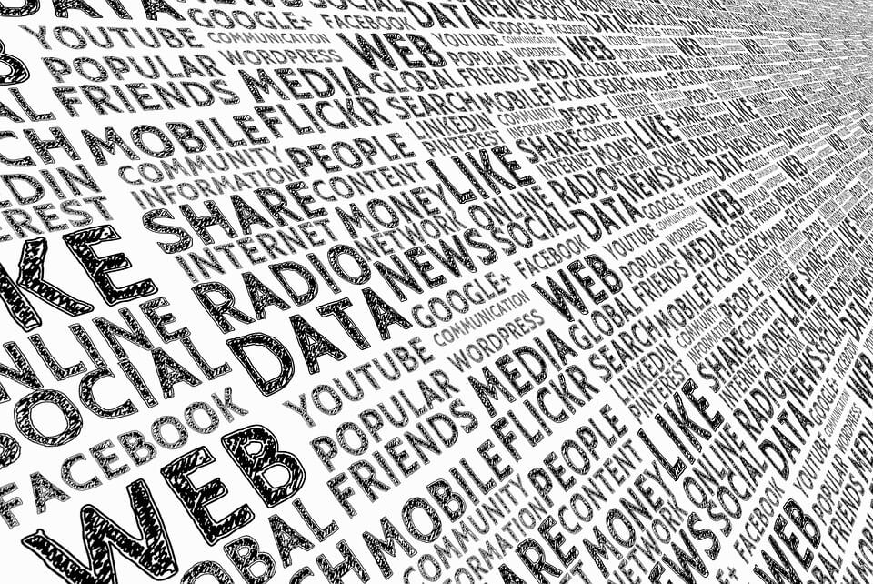 image of lots of words around social media - web, friends, data etc all swirling off into the distance.