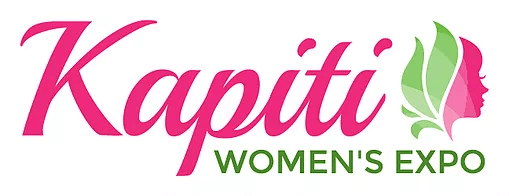 image of the kapiti women's expo. Pink letters with green highlights.